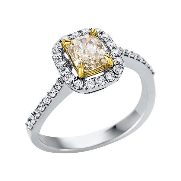 18 kt fehérarany / sárga arany szoliter oldalkövekkel 34 gyémánttal 1V324WG852-1