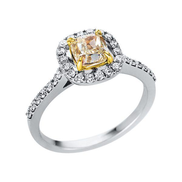 18 kt fehérarany / sárga arany szoliter oldalkövekkel 34 gyémánttal 1V326WG853-1