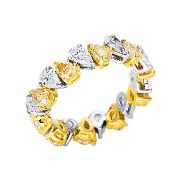 18 kt fehérarany / sárga arany több köves gyűrű 20 gyémánttal 1V359WG853-1