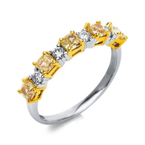 18 kt fehérarany / sárga arany több köves gyűrű 9 gyémánttal 1S908WG854-1