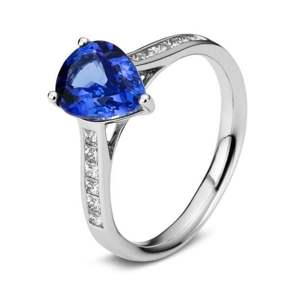 18 kt fehérarany színes drágakő 12 gyémánttal