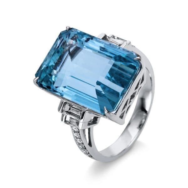 18 kt fehérarany színes drágakő 16 gyémánttal