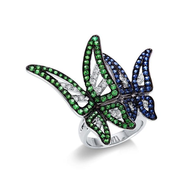 18 kt fehérarany színes drágakő 20 gyémánttal