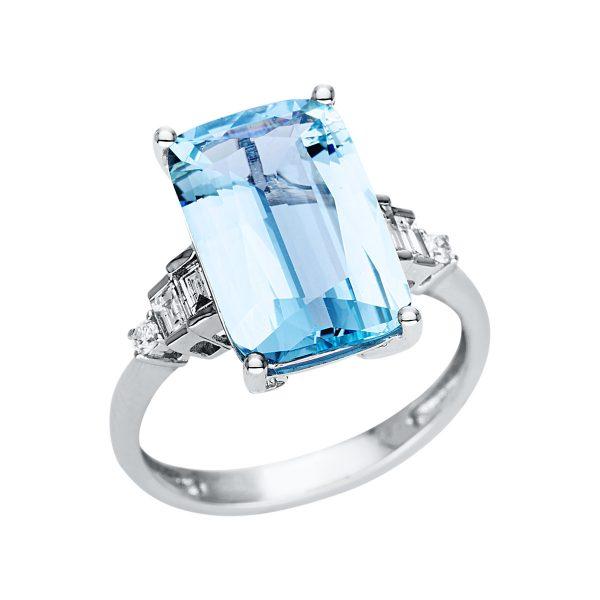 18 kt fehérarany színes drágakő 6 gyémánttal