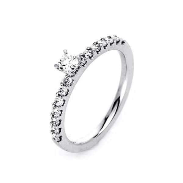 18 kt fehérarany szoliter oldalkövekkel 15 gyémánttal 1B699W856-1