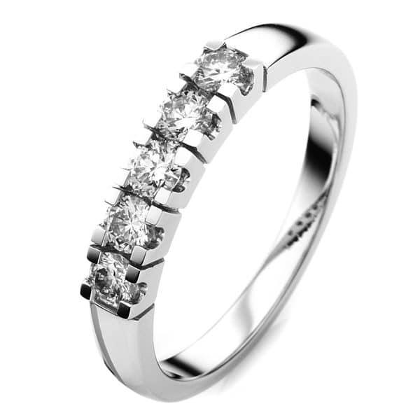 18 kt fehérarany több köves gyűrű 5 gyémánttal 1A369W854-1