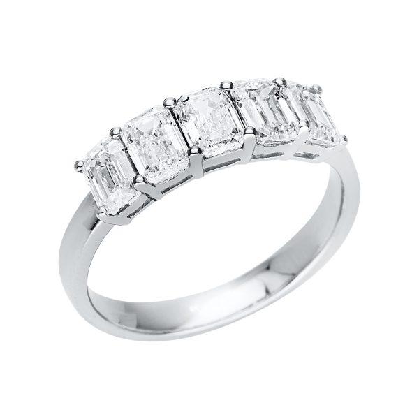 18 kt fehérarany több köves gyűrű 5 gyémánttal 1U346W854-1