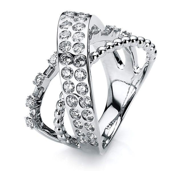18 kt fehérarany több köves gyűrű 51 gyémánttal 1B583W853-1