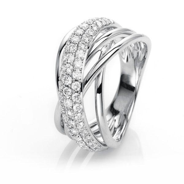 18 kt fehérarany több köves gyűrű 61 gyémánttal 1H829W853-1