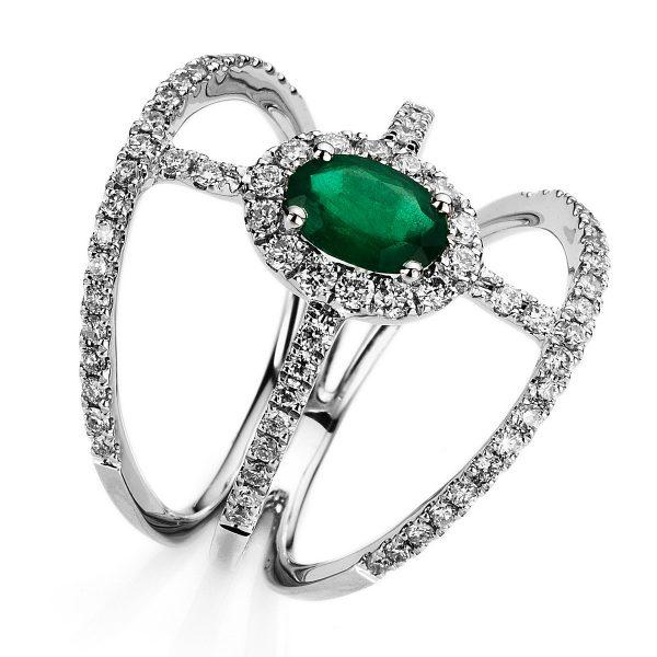 18 kt fehérarany több köves gyűrű 76 gyémánttal
