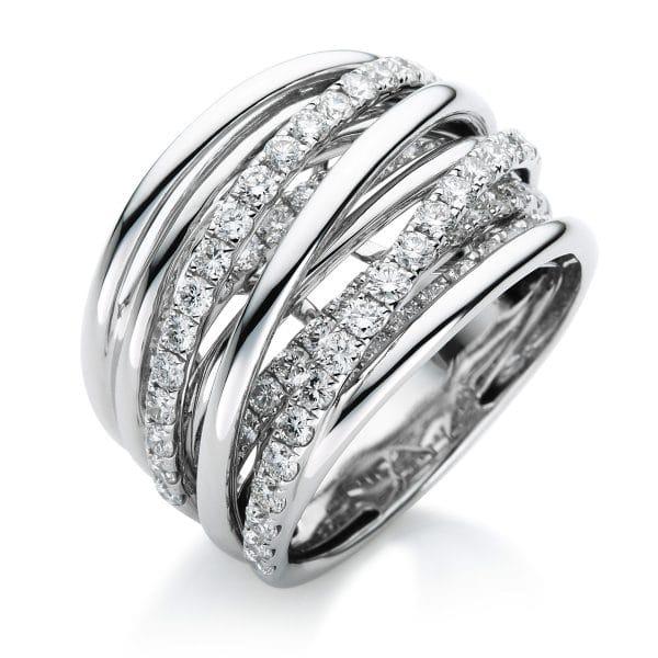 18 kt fehérarany több köves gyűrű 79 gyémánttal 1B386W854-5