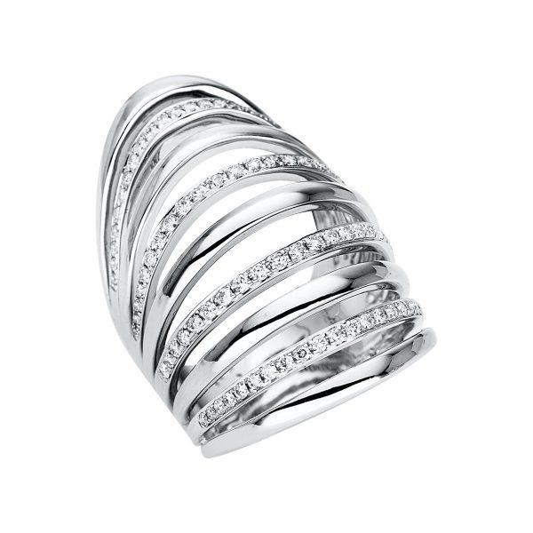 18 kt fehérarany több köves gyűrű 90 gyémánttal 1U363W854-1