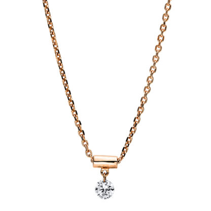 18 kt red gold necklace with 1 diamond 4F698R8-1