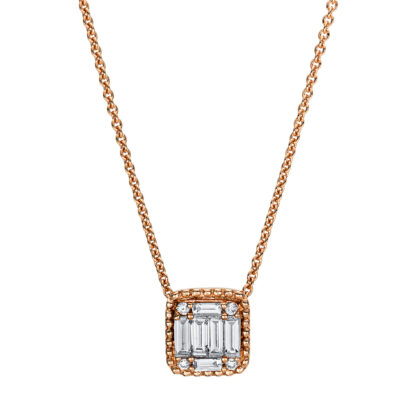 18 kt red gold necklace with 10 diamonds 4F377R8-2