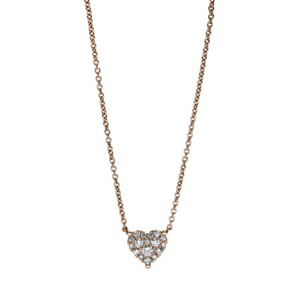 18 kt red gold necklace with 17 diamonds 4F620R8-1