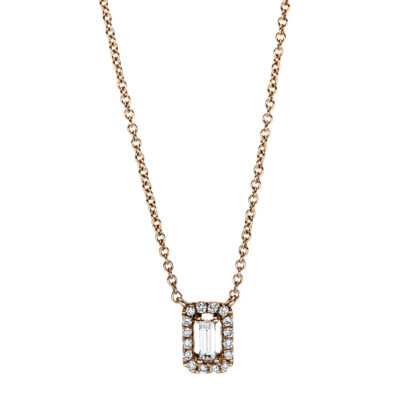 18 kt red gold necklace with 17 diamonds 4F659R8-1