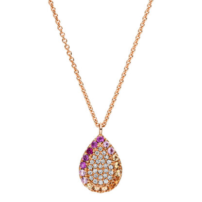 18 kt red gold necklace with 28 diamonds