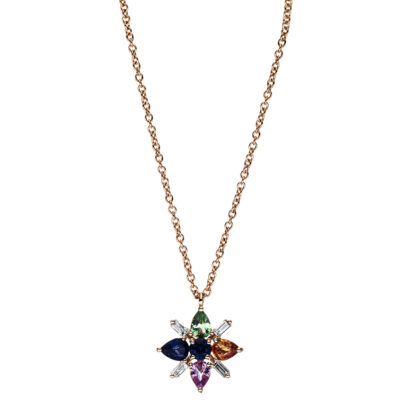 18 kt red gold necklace with 4 diamonds