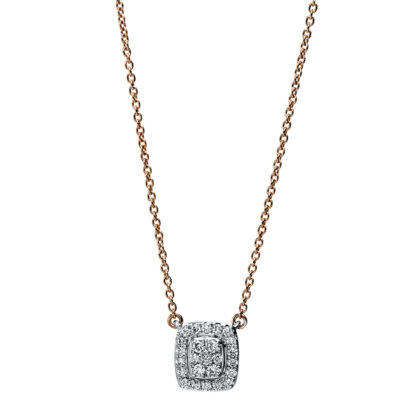 18 kt red gold / white gold necklace with 25 diamonds 4F792RW8-1