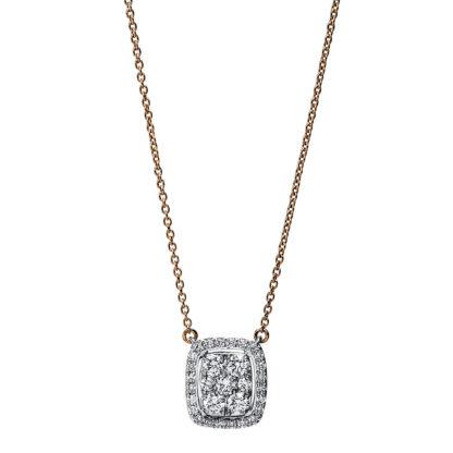 18 kt red gold / white gold necklace with 31 diamonds 4F794RW8-1