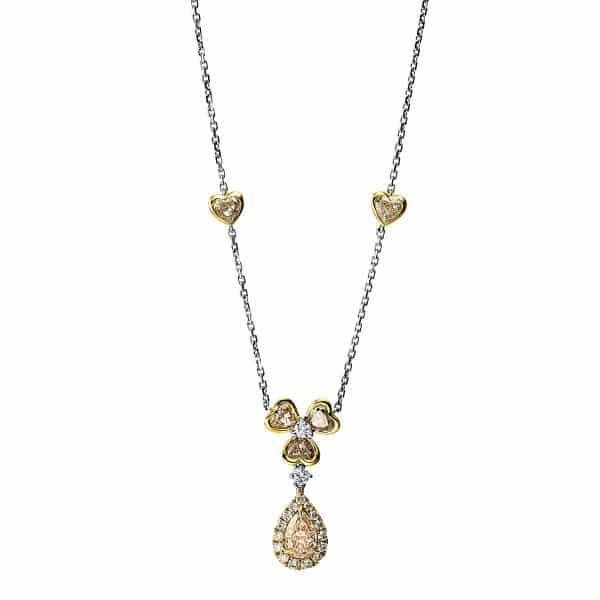 18 kt sárga arany / fehérarany nyaklánc 23 gyémánttal 4F704GW8-1