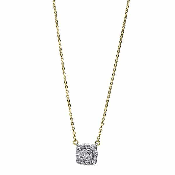 18 kt sárga arany / fehérarany nyaklánc 25 gyémánttal 4F786GW8-1