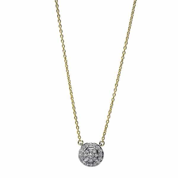 18 kt sárga arany / fehérarany nyaklánc 25 gyémánttal 4F789GW8-1