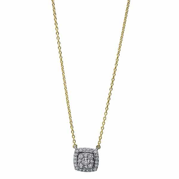 18 kt sárga arany / fehérarany nyaklánc 29 gyémánttal 4F787GW8-1