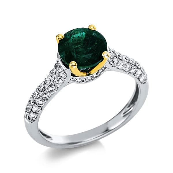 18 kt sárga arany / fehérarany színes drágakő 56 gyémánttal