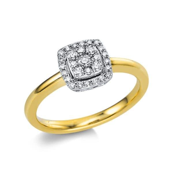 18 kt sárga arany / fehérarany több köves gyűrű 29 gyémánttal 1V665GW854-1