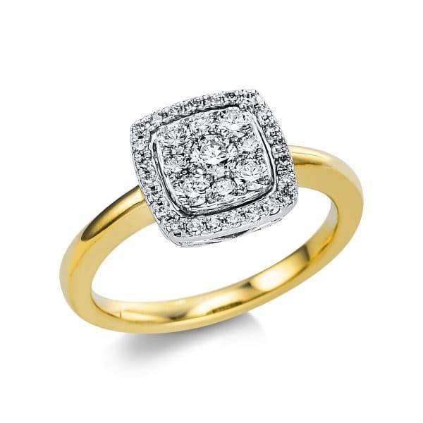 18 kt sárga arany / fehérarany több köves gyűrű 33 gyémánttal 1V666GW854-1