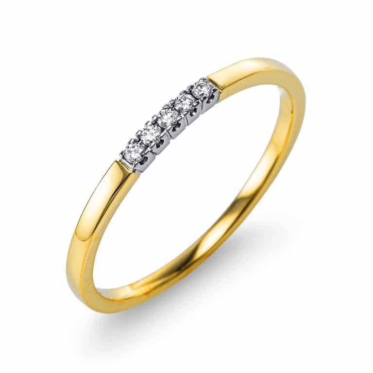 18 kt sárga arany / fehérarany több köves gyűrű 5 gyémánttal 1U565GW853-1