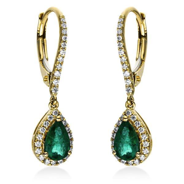 18 kt sárga arany fülbevaló 58 gyémánttal