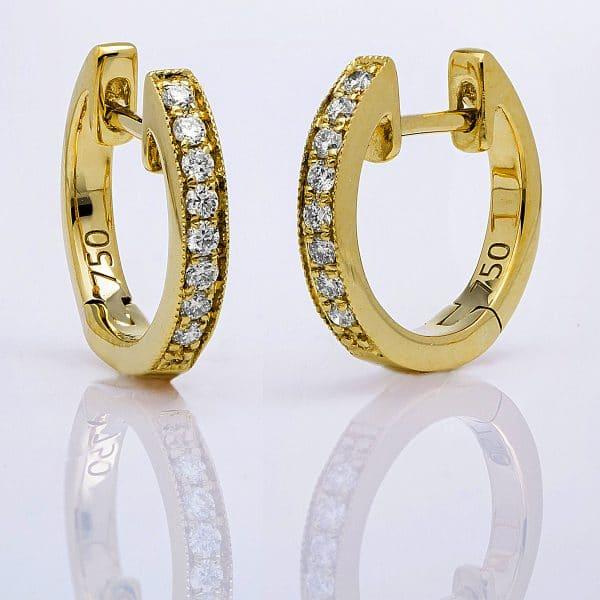 18 kt sárga arany karika és huggie 16 gyémánttal 2B403G8-3