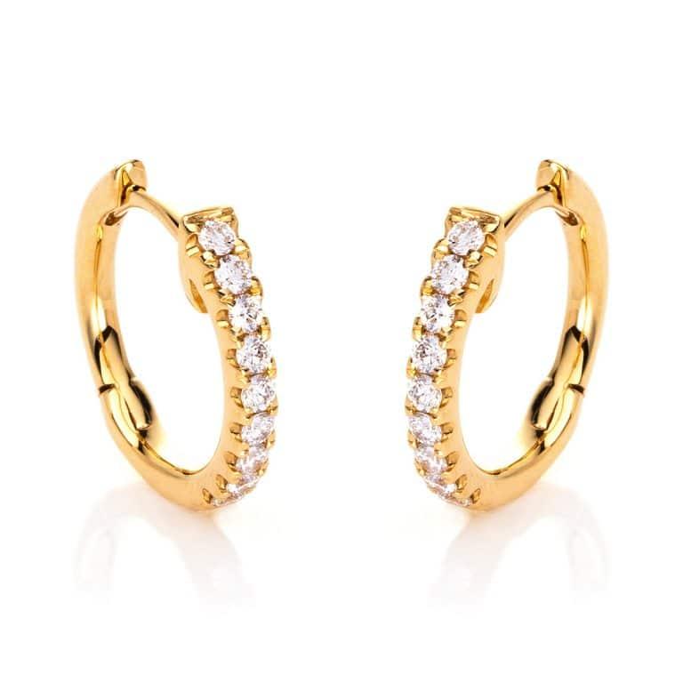 18 kt sárga arany karika és huggie 18 gyémánttal 2E290G8-6