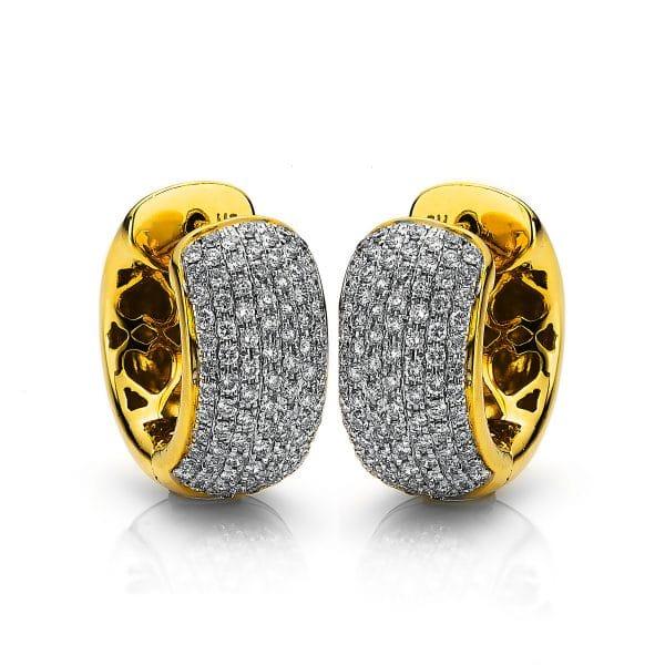 18 kt sárga arany karika és huggie 180 gyémánttal 2A006G8-1