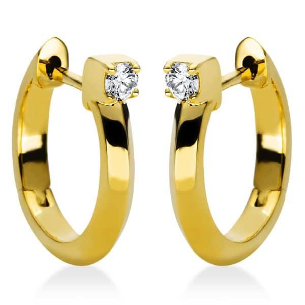 18 kt sárga arany karika és huggie 2 gyémánttal 2I982G8-1
