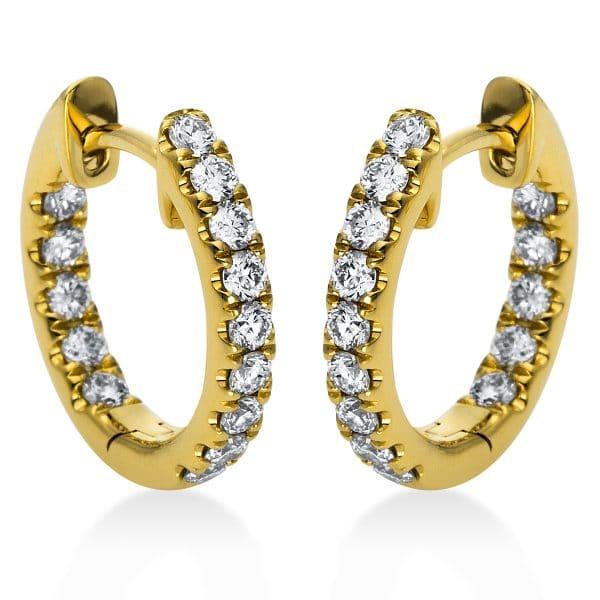 18 kt sárga arany karika és huggie 28 gyémánttal 2C204G8-2