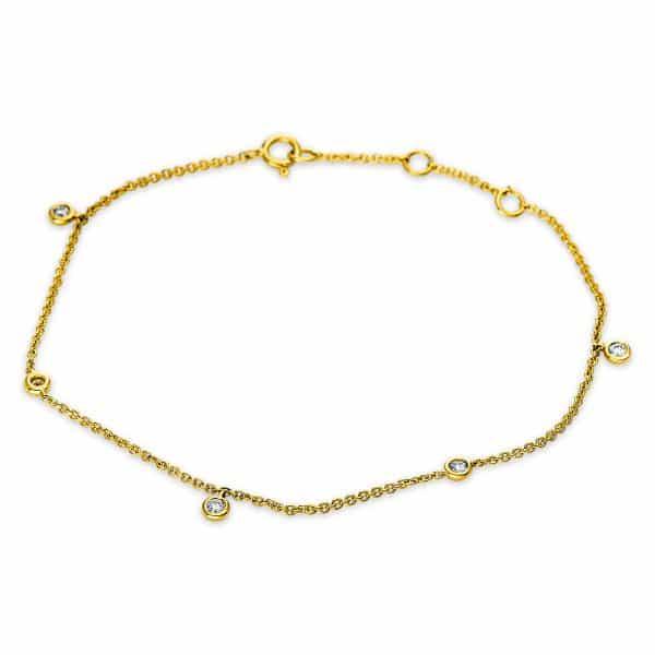 18 kt sárga arany karkötő 5 gyémánttal 5B498G8-1