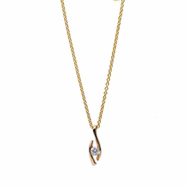 18 kt sárga arany nyaklánc 1 gyémánttal 4B296G8-1