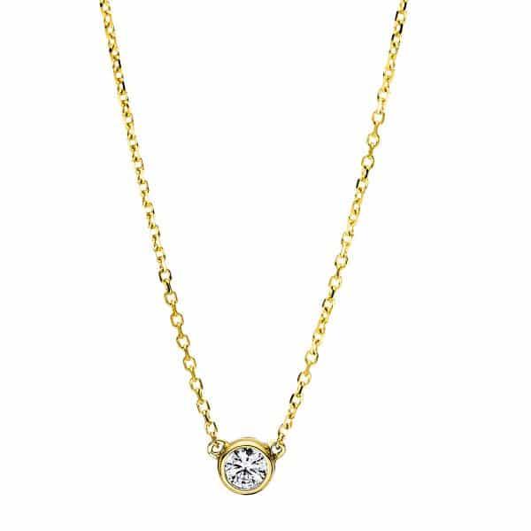 18 kt sárga arany nyaklánc 1 gyémánttal 4F492G8-1