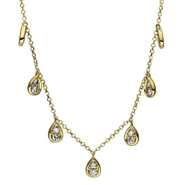 18 kt sárga arany nyaklánc 14 gyémánttal 4E893G8-1