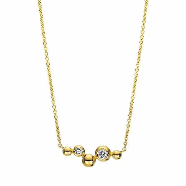 18 kt sárga arany nyaklánc 2 gyémánttal 4F397G8-1