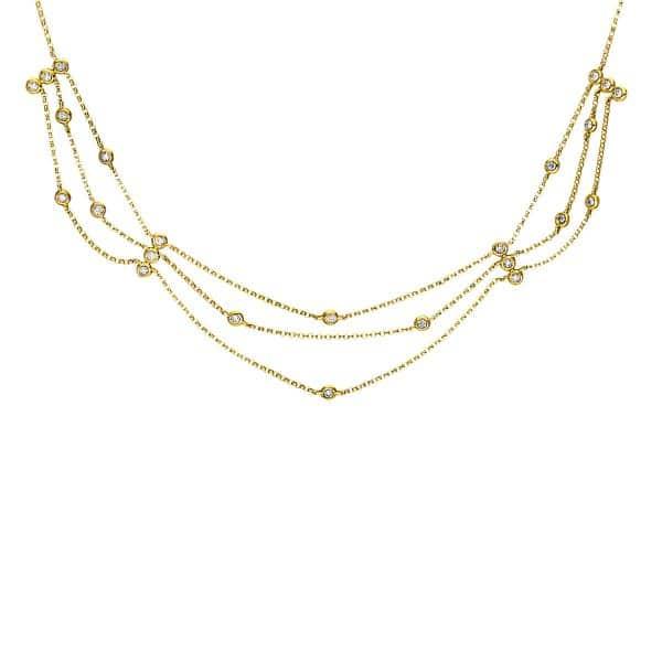 18 kt sárga arany nyaklánc 24 gyémánttal 4F441G8-1