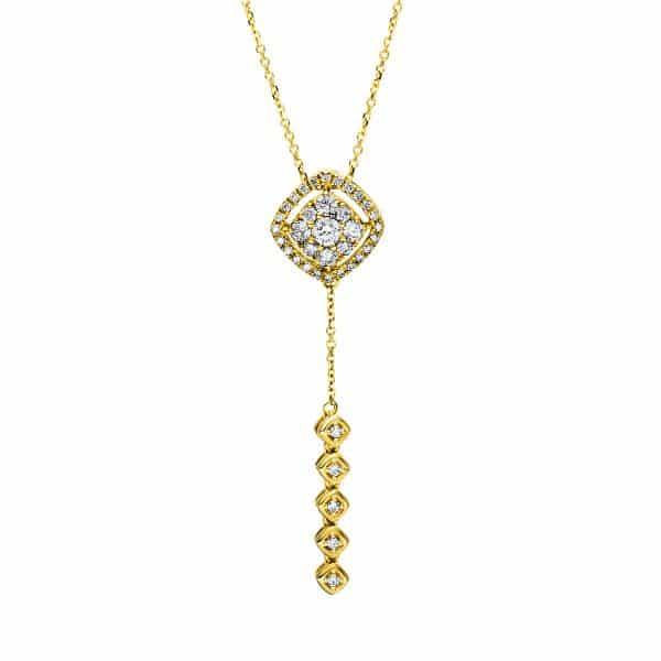18 kt sárga arany nyaklánc 38 gyémánttal 4F496G8-1
