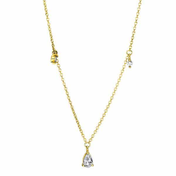 18 kt sárga arany nyaklánc 4 gyémánttal