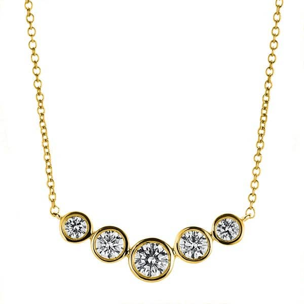 18 kt sárga arany nyaklánc 5 gyémánttal 4A790G8-1