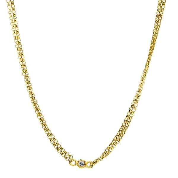 18 kt sárga arany nyaklánc 5 gyémánttal 4F438G8-1
