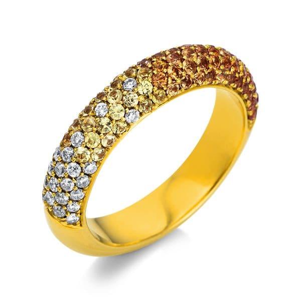 18 kt sárga arany színes drágakő 27 gyémánttal