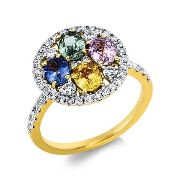 18 kt sárga arany színes drágakő 46 gyémánttal